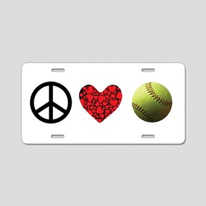Peace Love Softball Aluminum License Plate