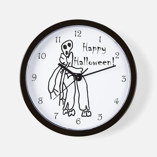 Happy Halloween Skeleton Wall Clock