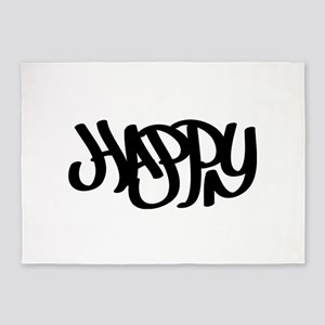 Happy graffiti tag 5'x7'Area Rug
