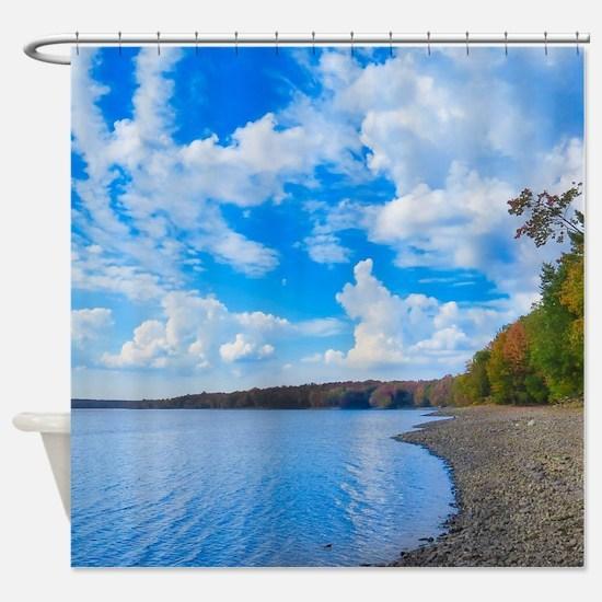 lakeside scenery Shower Curtain