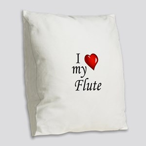 I Love my Flute Burlap Throw Pillow