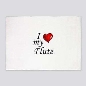 I Love my Flute 5'x7'Area Rug
