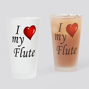I Love my Flute Drinking Glass