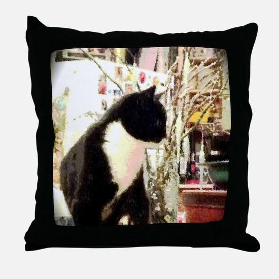 Unique Black and white cat Throw Pillow
