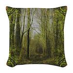 magical trail scene Woven Throw Pillow