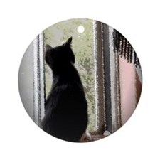 Curious black kitten Round Ornament
