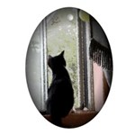 Curious black kitten Oval Ornament