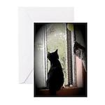 Curious black kitten Greeting Cards (Pk of 10)