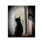 Curious black kitten Plush Fleece Throw Blanket