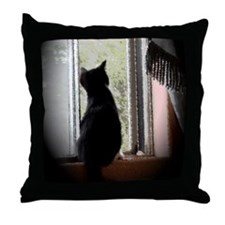 Curious black kitten Throw Pillow