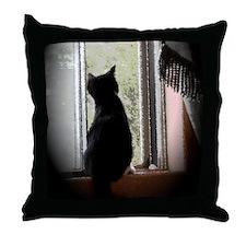 Curious black kitten Throw Pillow