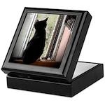 Curious black kitten Keepsake Box