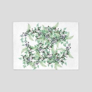 Ferns & Clematis Flowers Floral Vintage 5'x7'Area