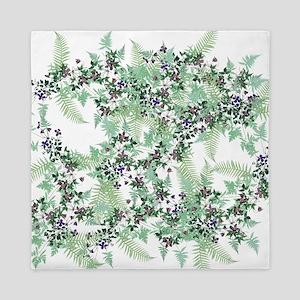 Ferns & Clematis Flowers Floral Queen Duvet