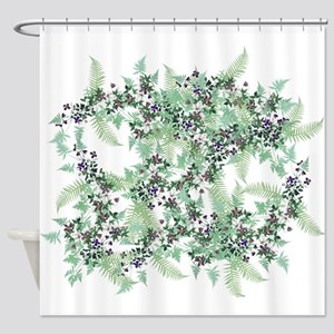 Ferns & Clematis Flowers Floral Shower Curtain