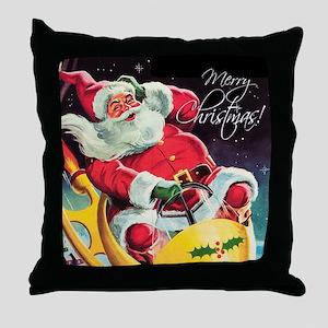 Santa Claus Rocket  Throw Pillow