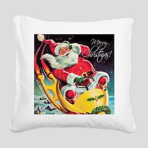 Santa Claus Rocket  Square Canvas Pillow
