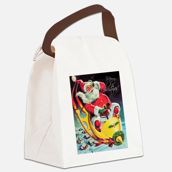 Santa Claus Rocket  Canvas Lunch Bag
