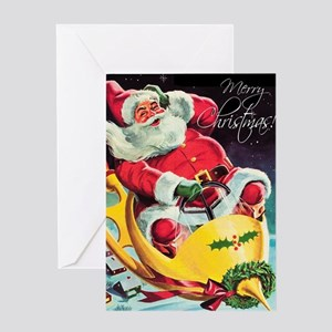 Santa Claus Rocket  Greeting Card