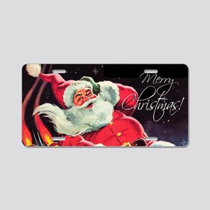 Santa Claus Rocket Aluminum License Plate