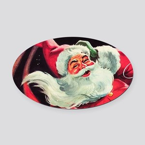 Santa Claus Rocket Oval Car Magnet