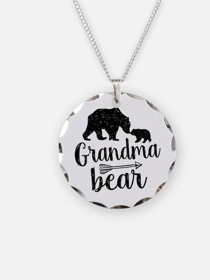 Grandma Bear Necklace Circle Charm