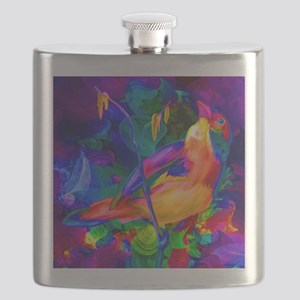 Paradise Bird Vibrant Art Flask