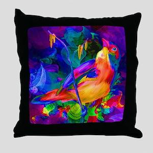 Paradise Bird Vibrant Art Throw Pillow