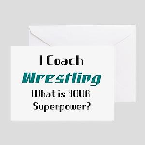 coach wrestling Greeting Card