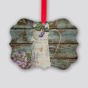 rustic lavender western country Picture Ornament