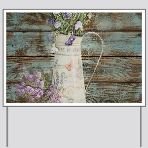 rustic lavender western country Yard Sign