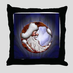 Harvest Moons Wooden Santa Throw Pillow