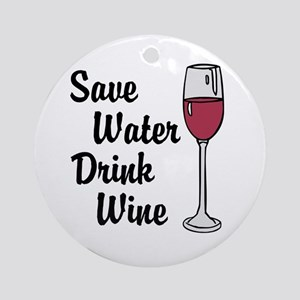 Drink Wine Round Ornament