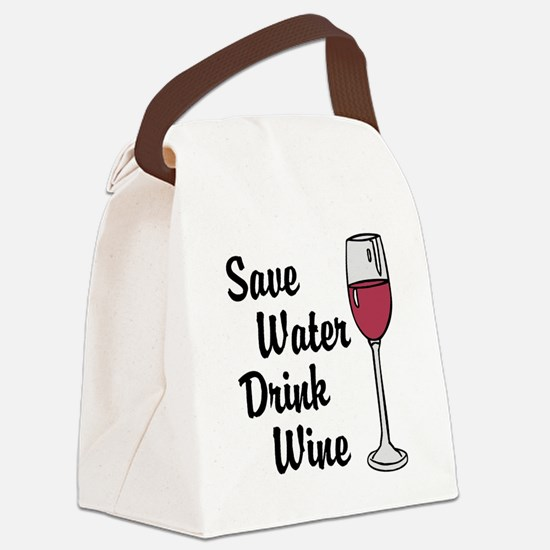 Drink Wine Canvas Lunch Bag
