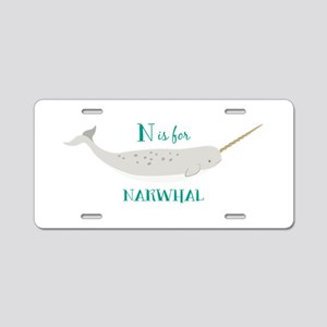 N Is For Narwhal Aluminum License Plate