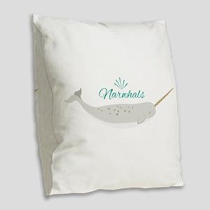 Narwhals Burlap Throw Pillow