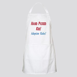 Hand Picked Kid - Adoption Rules in red and Apron