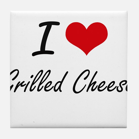 I Love Grilled Cheese artistic design Tile Coaster