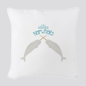 Narwhals Woven Throw Pillow