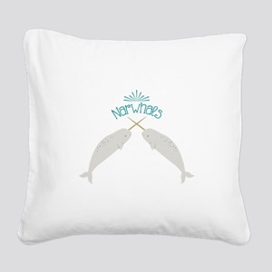 Narwhals Square Canvas Pillow