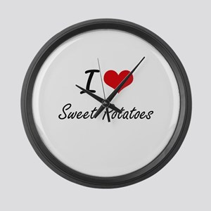 I Love Sweet Potatoes artistic de Large Wall Clock
