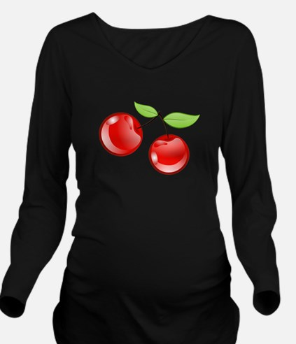 cherries Long Sleeve Maternity T-Shirt