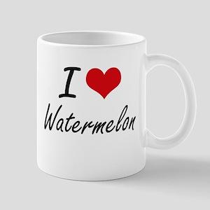 I Love Watermelon artistic design Mugs