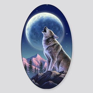 Howling Wolf 1 Oval Sticker
