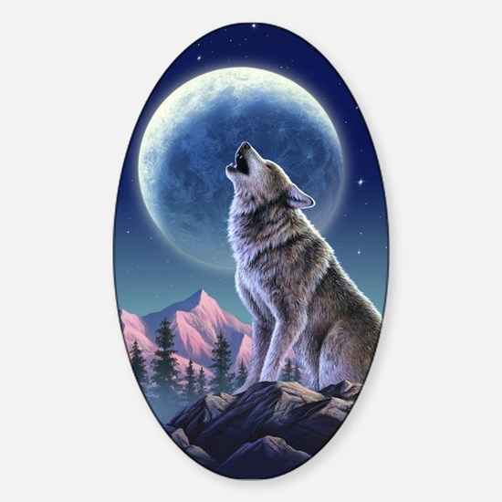 Howling Wolf 1 Oval Decal