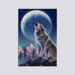 Howling Wolf 1 Rectangle Magnet