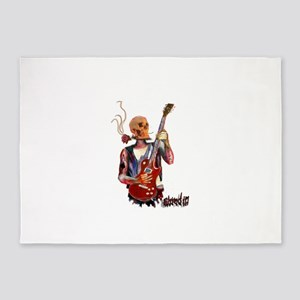 Shred It skull tattoo guitar player 5'x7'Area Rug