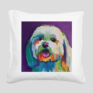 Dash the Pop Art Dog Square Canvas Pillow