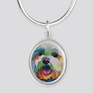 Dash the Pop Art Dog Silver Oval Necklace