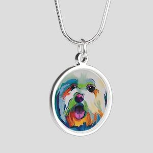 Dash the Pop Art Dog Silver Round Necklace